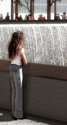 Мемориал Центра Мировой Торговли. Проект. Июнь 2006. Парапет с именами погибших