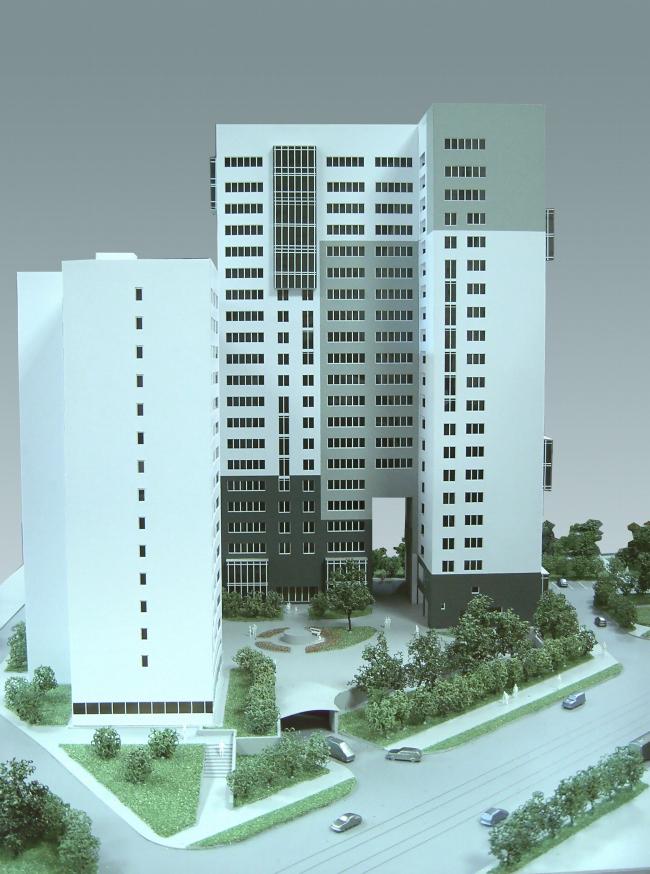 Жилищно-социальный комплекс с подземным гаражом и встроенным ДОУ на ул. Орджоникидзе. Общий вид © Архитектурная мастерская Лызлова