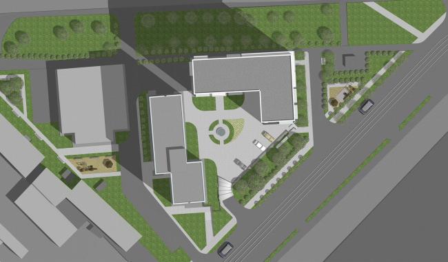 Жилищно-социальный комплекс с подземным гаражом и встроенным ДОУ на ул. Орджоникидзе. Генплан © Архитектурная мастерская Лызлова