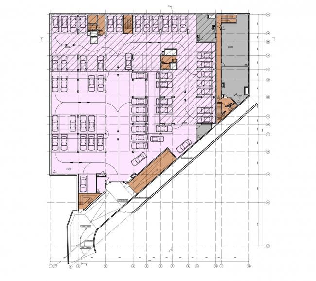 Жилищно-социальный комплекс с подземным гаражом и встроенным ДОУ на ул. Орджоникидзе. План 1-го этажа © Архитектурная мастерская Лызлова