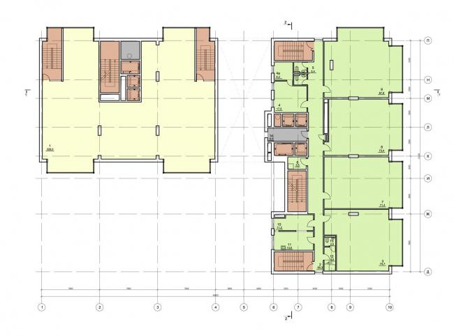 Жилищно-социальный комплекс с подземным гаражом и встроенным ДОУ на ул. Орджоникидзе. План 2-го этажа © Архитектурная мастерская Лызлова