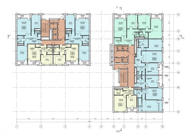 Жилищно-социальный комплекс с подземным гаражом и встроенным ДОУ на ул. Орджоникидзе. Планы 3-5 этажей © Архитектурная мастерская Лызлова