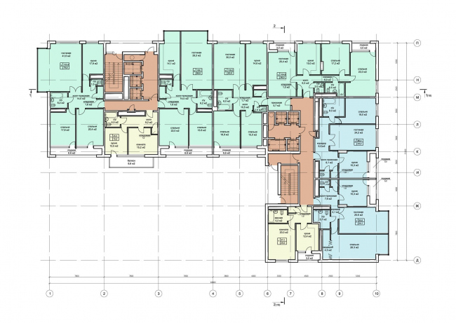 Жилищно-социальный комплекс с подземным гаражом и встроенным ДОУ на ул. Орджоникидзе. Планы 17-18 этажей © Архитектурная мастерская Лызлова