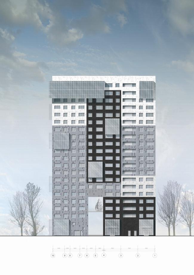 Жилищно-социальный комплекс с подземным гаражом и встроенным ДОУ на ул. Орджоникидзе. Северный фасад © Архитектурная мастерская Лызлова