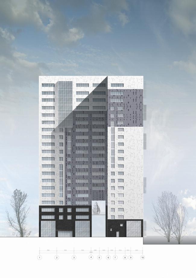 Жилищно-социальный комплекс с подземным гаражом и встроенным ДОУ на ул. Орджоникидзе. Южный фасад © Архитектурная мастерская Лызлова