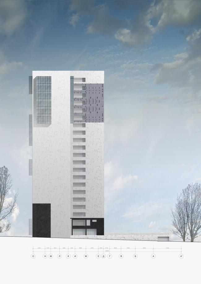 Жилищно-социальный комплекс с подземным гаражом и встроенным ДОУ на ул. Орджоникидзе. Западный фасад © Архитектурная мастерская Лызлова