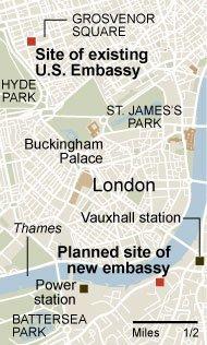 Схема расположения старого и нового посольств в Лондоне