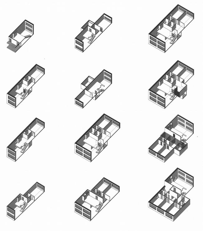 Аксонометрия. Хорошо видно, что квартиры могут побольше и поменьше, причем в довольно-таки много вариантов планировки