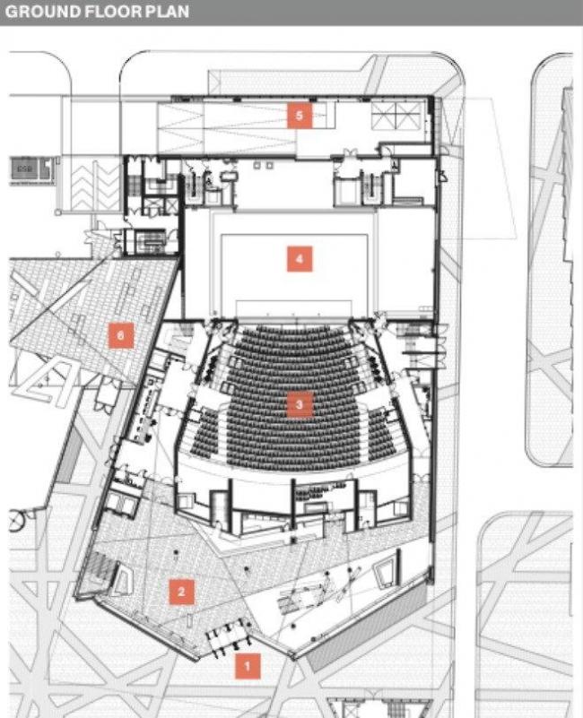 Ансамбль площади Гранд-Канал-Сквер. План 1-го этажа театра © Studio Libeskind