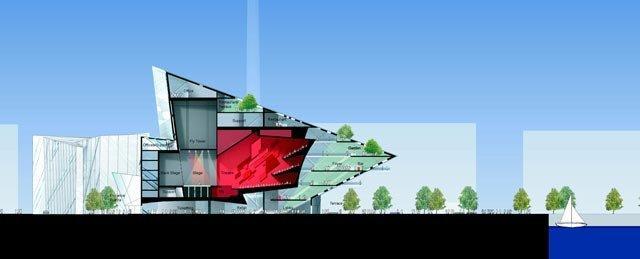 Ансамбль площади Гранд-Канал-Сквер. Разрез театра © Studio Libeskind