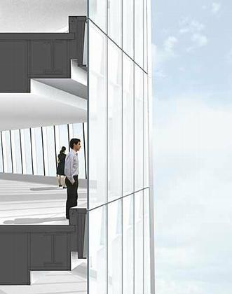 Дэвид Чайлдс. «Башня Свободы». Проект. Июнь 2006. Разрез. Деталь