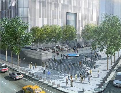 Дэвид Чайлдс. «Башня Свободы». Проект. Июнь 2006. Вид основания постройки