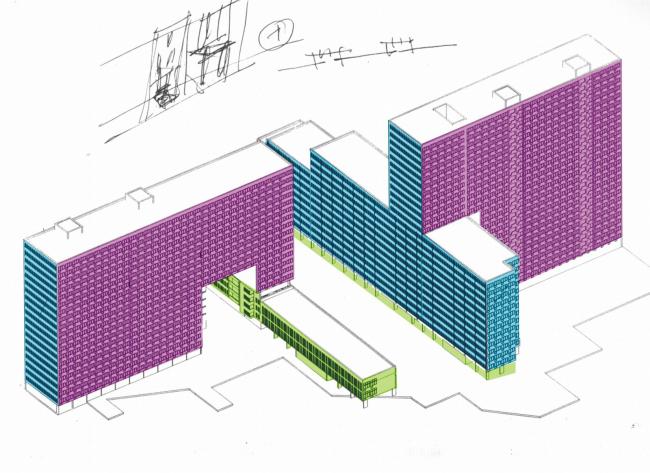 Жилой комплекс «Краснобогатырские слоны». Аксонометрия © Архитектурная мастерская Лызлова