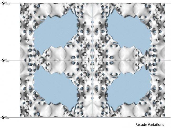 Вариации интерактивного фасада-мембраны