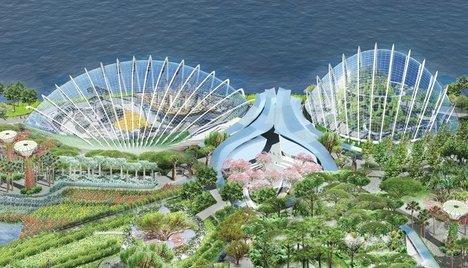 Оранжереи в парке Марина-Бэй-Саут. Солнцезащитное устройство свернуто © Wilkinson Eyre Architects