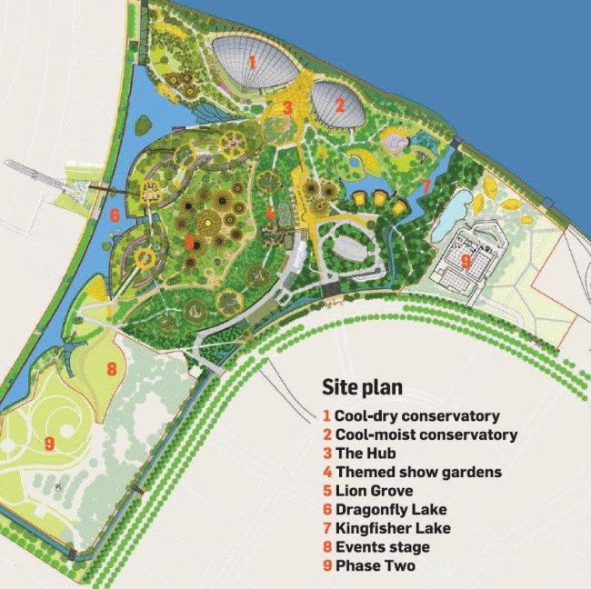 Оранжереи в парке Марина-Бэй-Саут. Ситуационный план © Wilkinson Eyre Architects