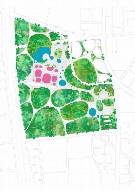 Центр исполнительских искусств Вэйуин. Схема ландшафтного дизайна прилегающей территории © Mecanoo