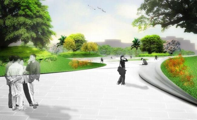 Центр исполнительских искусств Вэйуин. Ландшафтный дизайн прилегающей территории © Mecanoo