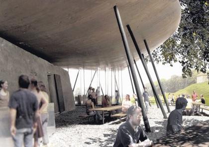 Летний ресторан на острове Уфенау. Проект