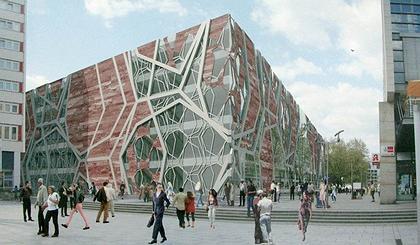 """de Architekten Cie."". Проект фасада торгового центра на Прагер Штрассе в Дрездене. 2-е место"