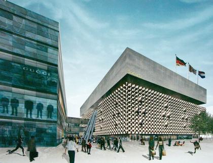 ОМА. Проект фасада торгового центра на Прагер Штрассе в Дрездене. Особая премия