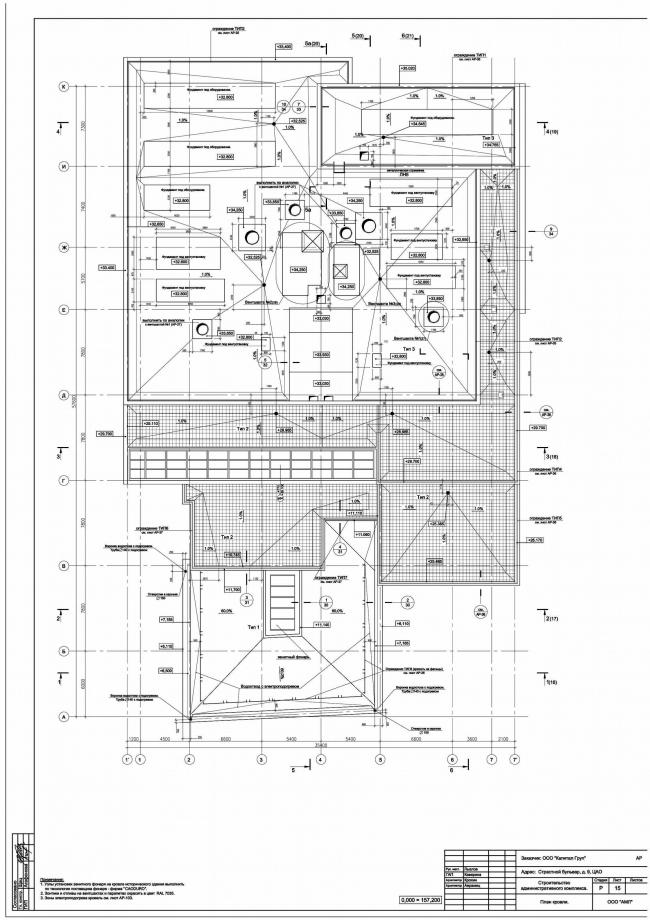 Административное здание на Страстном бульваре. План кровли © Архитектурная мастерская Лызлова