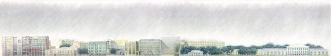 Административное здание на Страстном бульваре. Развертка © Архитектурная мастерская Лызлова