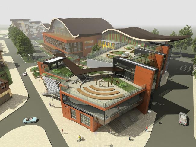 Многофункциональный спортивно-общественный центр в Олимпийской деревне «Новогорск». Проект, 2010 © Архитектуриум