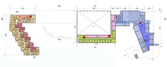 Многофункциональный спортивно-общественный центр в Олимпийской деревне «Новогорск». План 3 этажа. Проект, 2010 © Архитектуриу