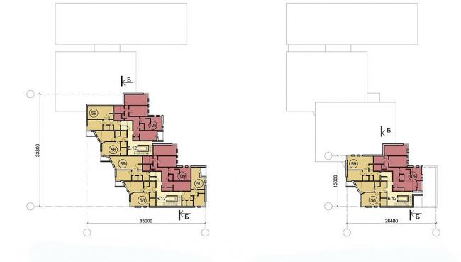 Многофункциональный спортивно-общественный центр в Олимпийской деревне «Новогорск». План 5 и 6 этажей. Проект, 2010 © Архитектуриум