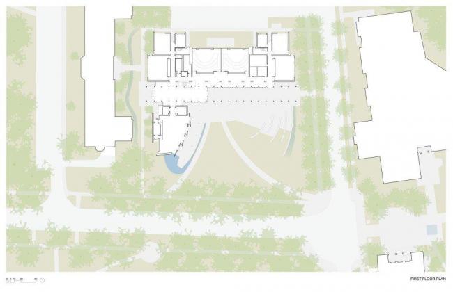 Школа бизнеса Лоуки Миллс-Колледжа. План 1-го этажа © Bohlin Cywinski Jackson