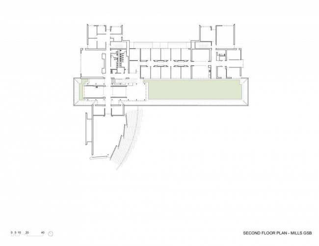 Школа бизнеса Лоуки Миллс-Колледжа. План 2-го этажа © Bohlin Cywinski Jackson