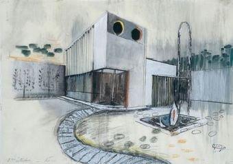 Жак Лагранж [Jacques Lagrange] Эскиз декорации к фильму «Мой дядя»