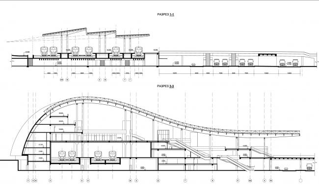 Разрезы. Вокзал «Олимпийский парк»