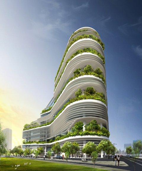 Башня Chongqing Tower, Китай T. R. Hamzah & Yeang Sdn. Bhd.
