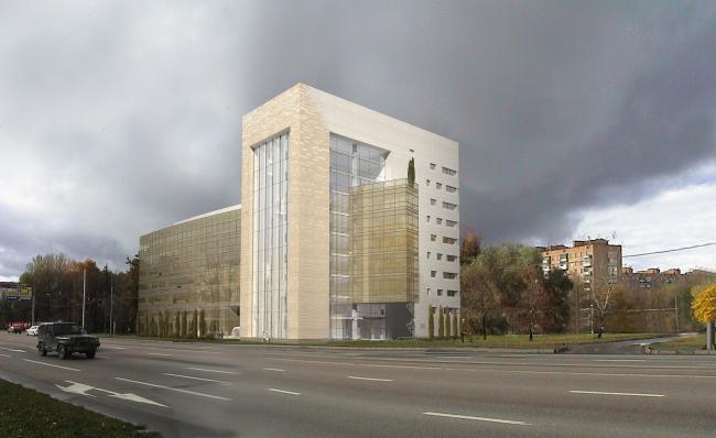 Офисное здание на Можайском шоссе. Вариант 2010 года (третий вариант). Проектировщик: Мастерская архитектора Бавыкина
