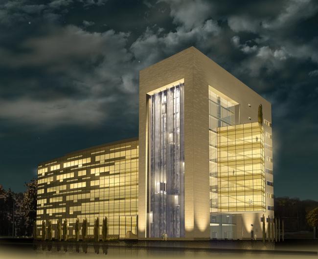 Офисное здание с подземной автостоянкой в 4-х уровнях на Можайском шоссе. Вариант 2010 года (третий вариант). Проектировщик: Мастерская архитектора Бавыкина