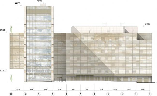 Офисное здание на Можайском шоссе. Вариант 2010 года (третий вариант). Северный фасад