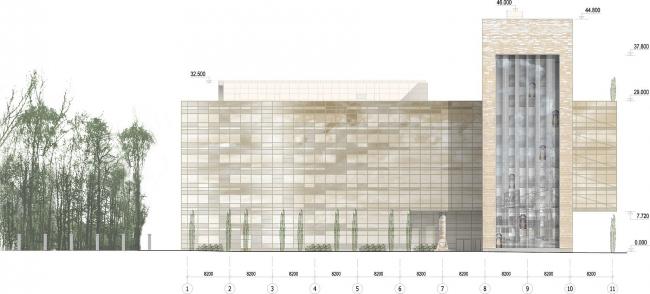 Офисное здание на Можайском шоссе. Вариант 2010 года (третий вариант). Южный фасад