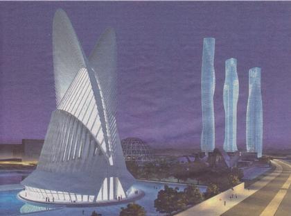 Башни «Торре Валенсия», «Кастелло» и «Аликанте». На переднем плане – «Город науки и искусств»