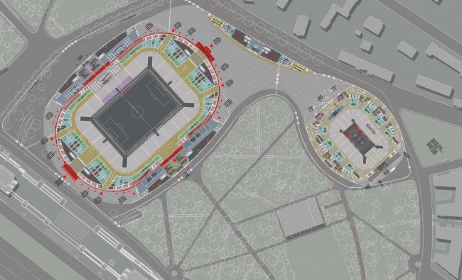 ВТБ Арена парк. Проект реконструкции стадиона «Динамо». План уровня на отметке 0.000