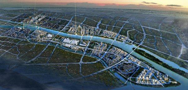 Генплан Гуанчжоу, Китай, 2008 Визуализация © Frederic Schwartz Architects