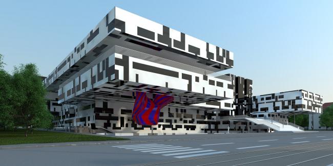 Национальная библиотека в Праге (конкурсный проект) © Архитектурное бюро «Тотемент/Пейпер»
