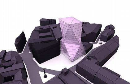 Заха Хадид. Офисное здание на площади Сервита. Проект. Высотный вариант