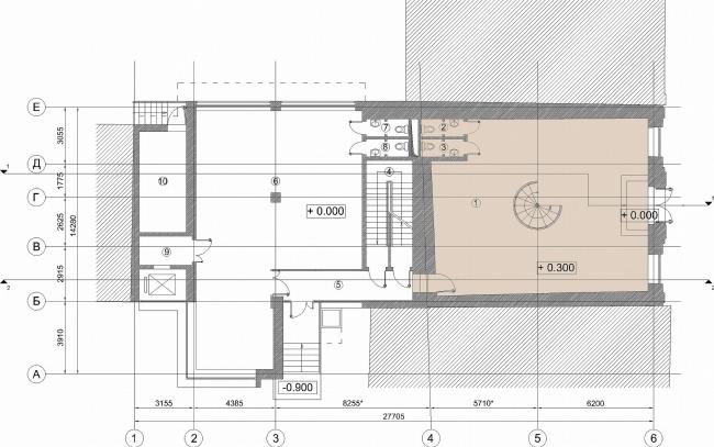 Административное здание на Большой Дмитровке д. 18/10 стр. 2. План 1-го этажа © Александров и партнеры