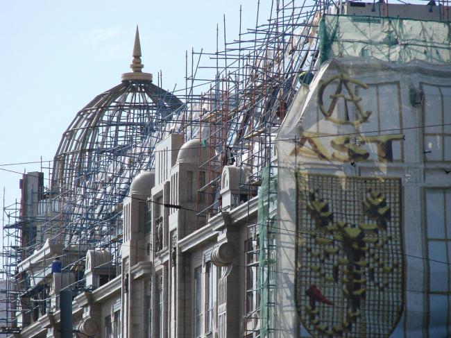 Он же. Новый «Военторг» в процессе стройки. Один из самых характерных памятников периода