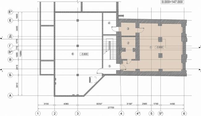 Административное здание на Большой Дмитровке д. 18/10 стр. 2. План подвала © Александров и партнеры