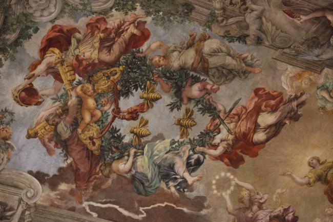 Национальная галерея в Палаццо Барберини. Плафон «Триумф Божественного провидения» Пьетро да Кортоны. Фрагмент. Фото © Анна Вяземцева
