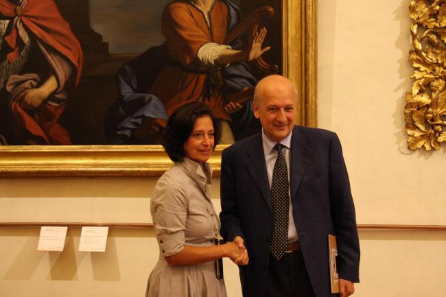 Открытие Национальной галереи в Палаццо Барберини. Министр культуры Сандро Бонди с директрисой музея. Фото © Анна Вяземцева