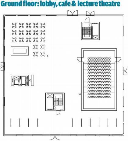 Школа менеджмента и дизайна Цольферайн. План 1-го этажа © SANAA